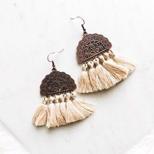 Jewelry - boho bronze and khaki tassel fringe earrings